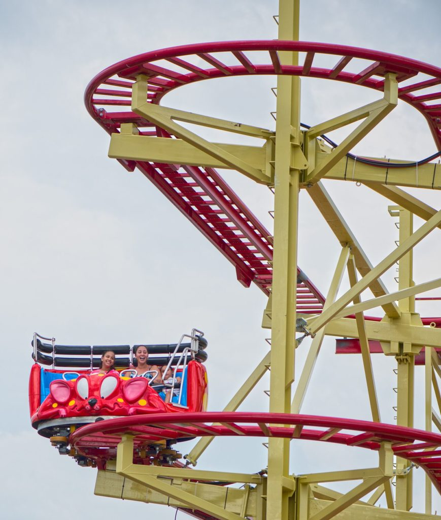 Riders descending on the Crazy Mouse rollercoaster