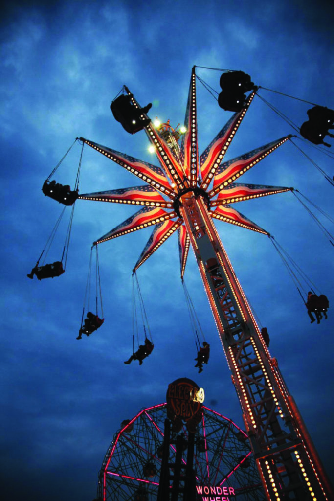Riders on Freedom Flyer, seen from below