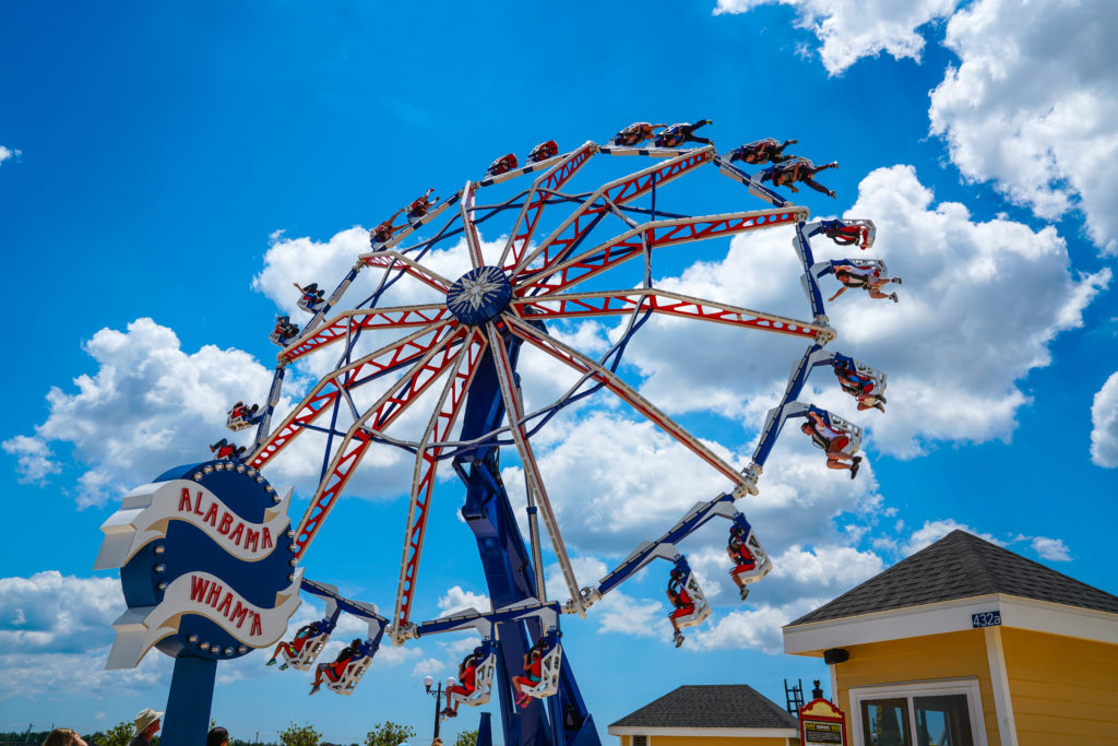 A view of riders on the Alabama Wham'a ferris wheel