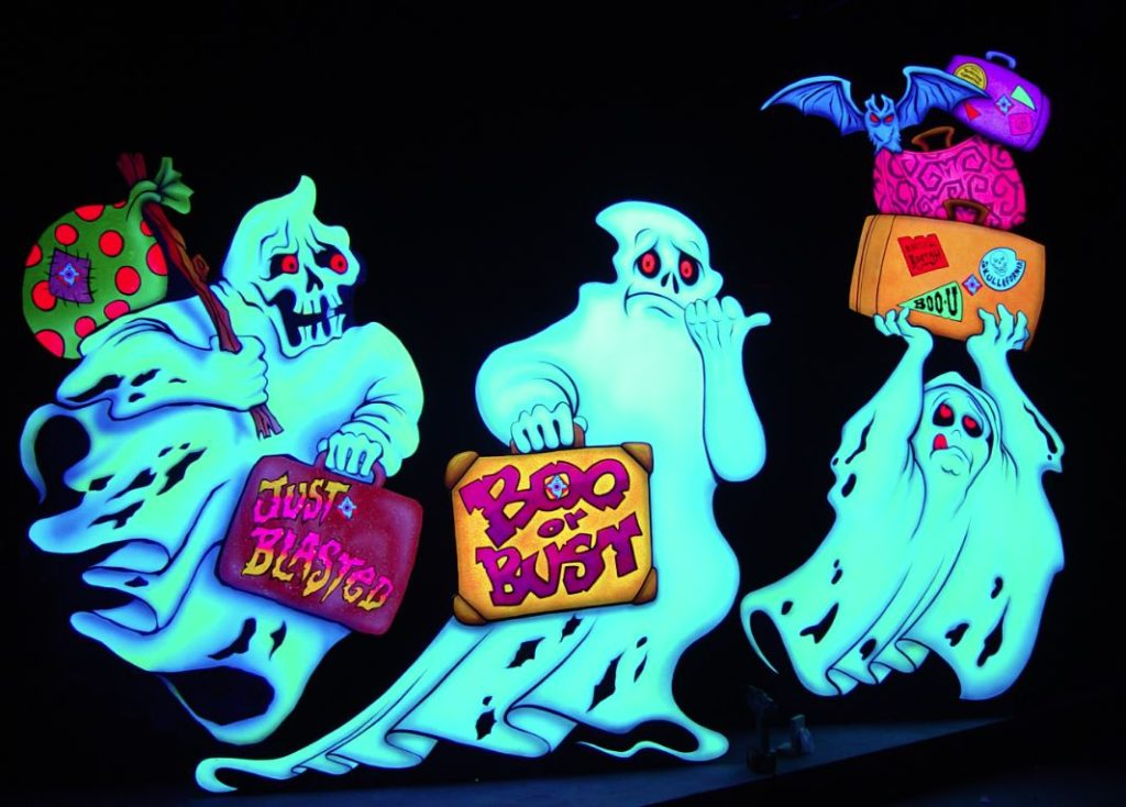 Glow in the dark illustrations of ghosts