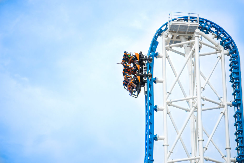 Riders descending on the Rollin' Thunder rollercoaster