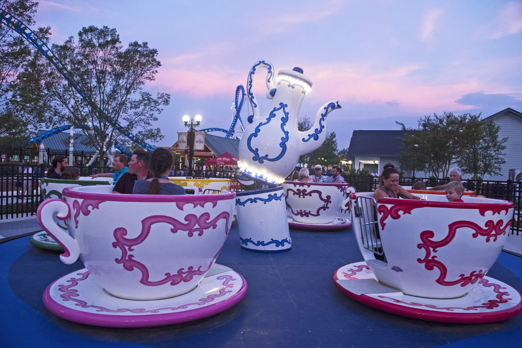 The Tea Time ride seen at dusk