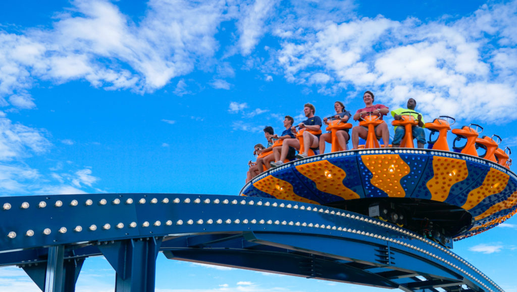 Riders on the Wave Rider seen from below