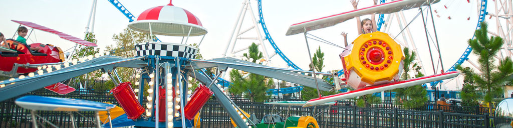 A panoramic view of the Flying Aces ride
