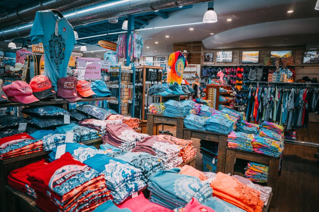 Folded t-shirts inside Alvin's Island