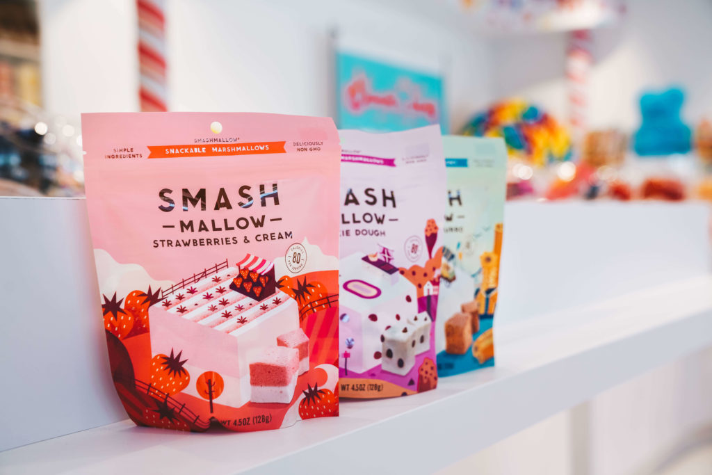 Smash Mallow bags lined up from left to right