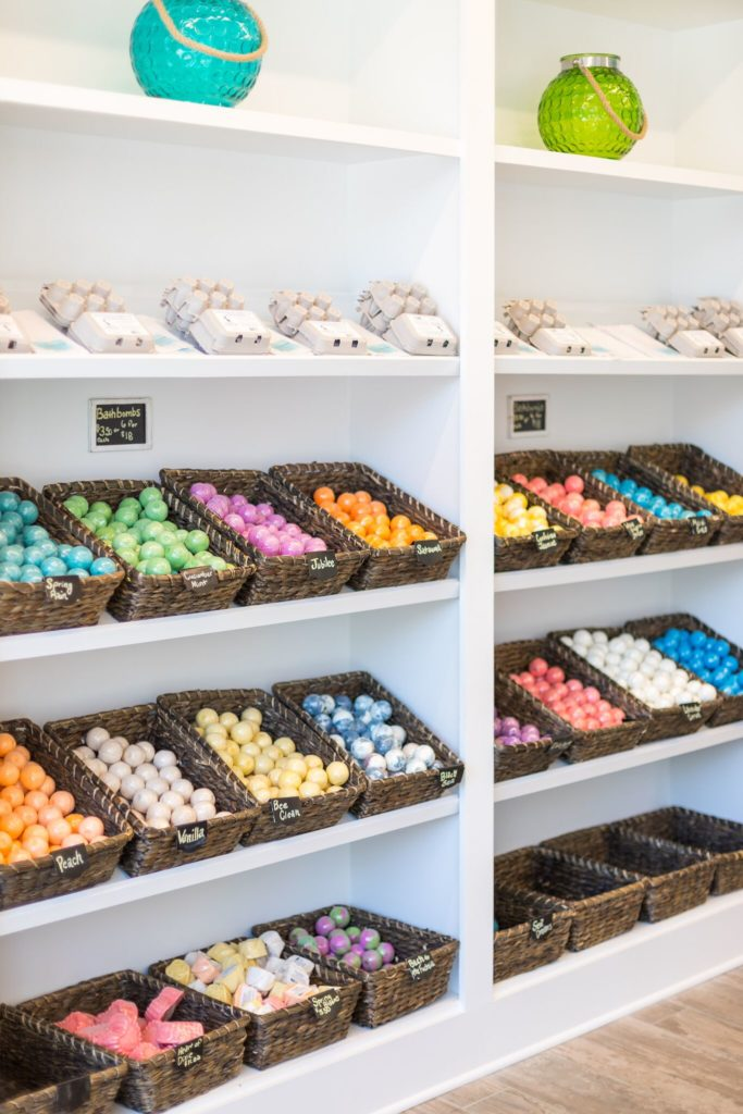 Baskets of colorful bath bombs