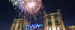 Fireworks over the OWA entrance