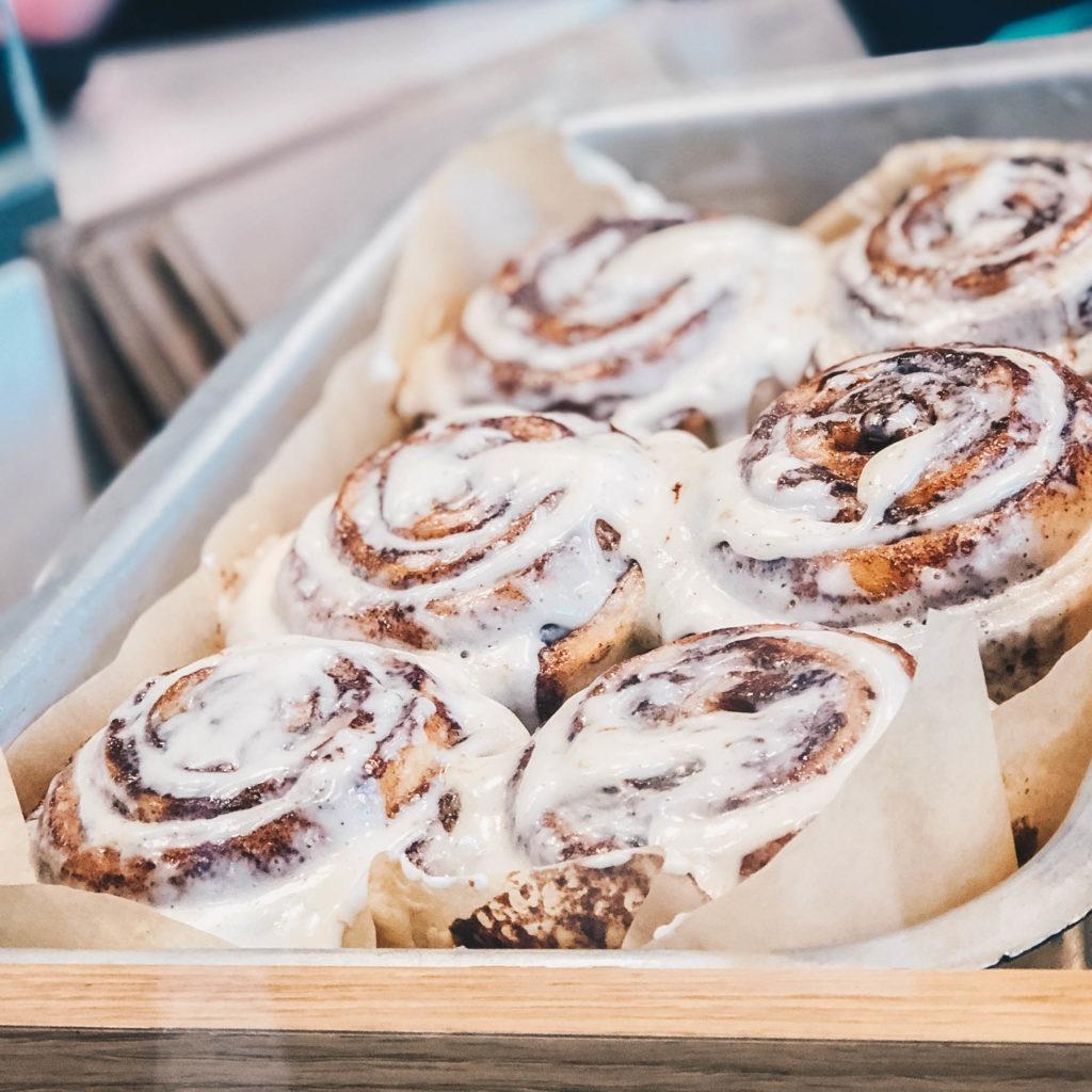 A tray of cinnamon rolls