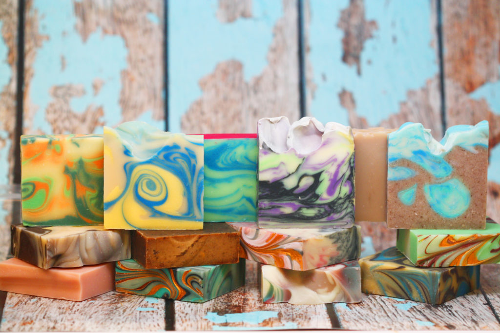 A variety of colorful soaps