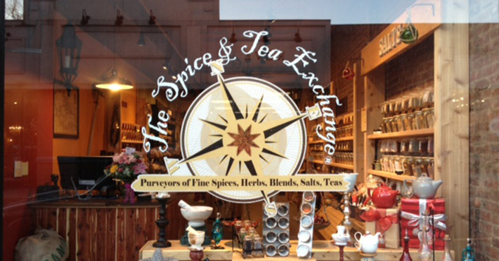 The storefront window of The Spice & Tea Exchange®