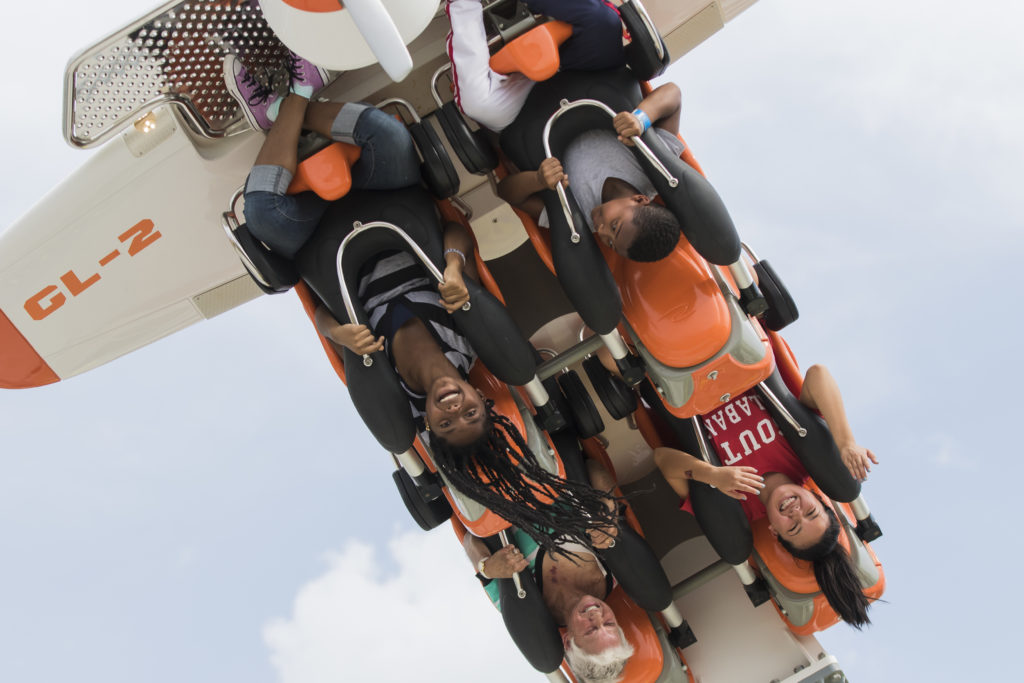 Children riding the Air Racer in The Park at OWA