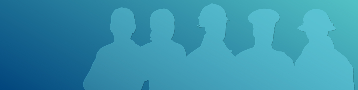 Illustrative silhouettes of first responders