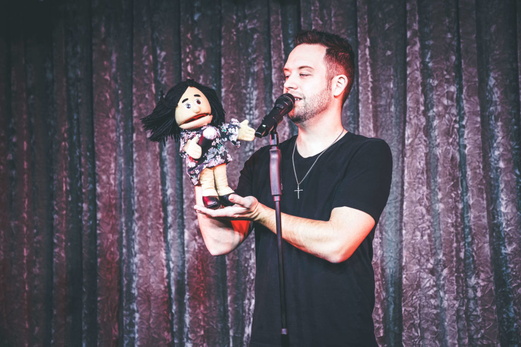 Brandon Styles and a puppet