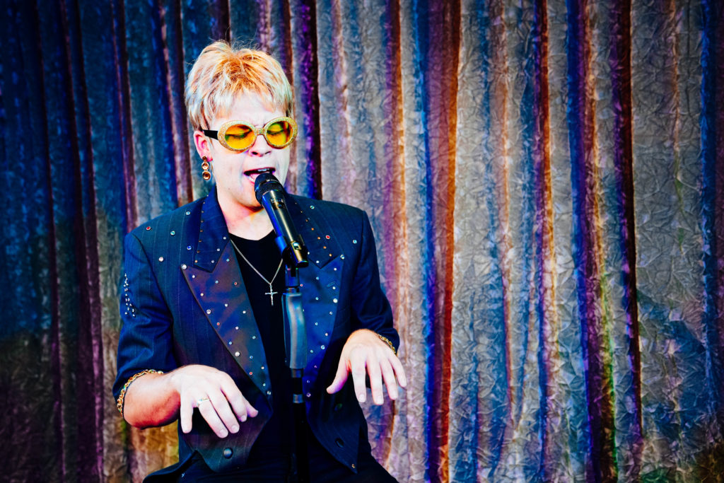 Brandon Styles in costume as Elton John