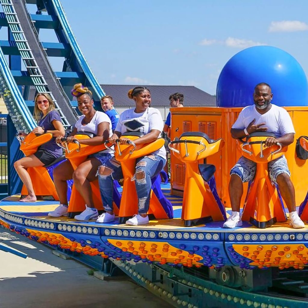 A family on the Wave Rider rollercoaster