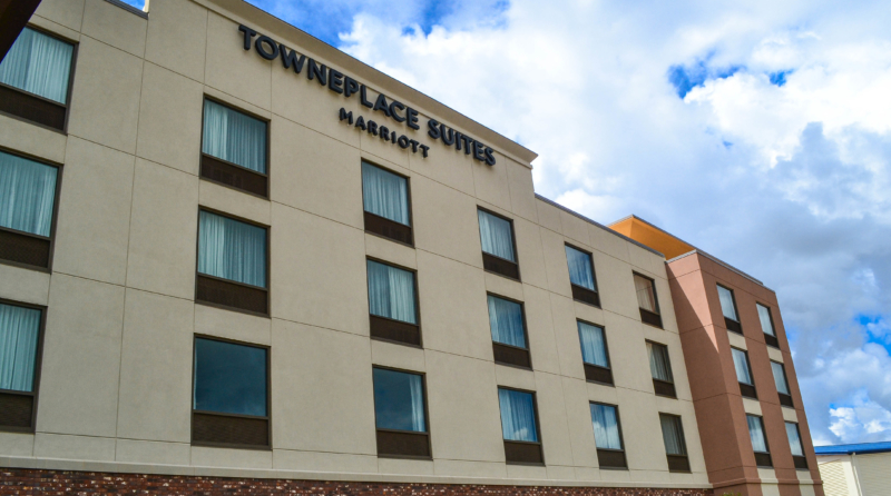 The exterior of the TownePlace Suites hotel