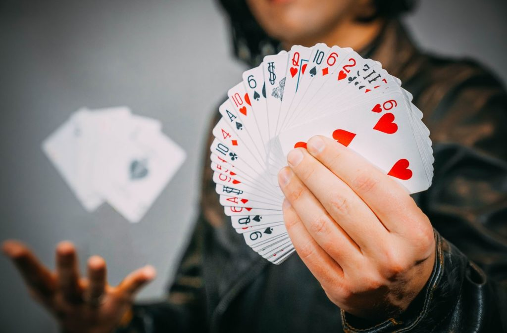 A fanned deck of cards