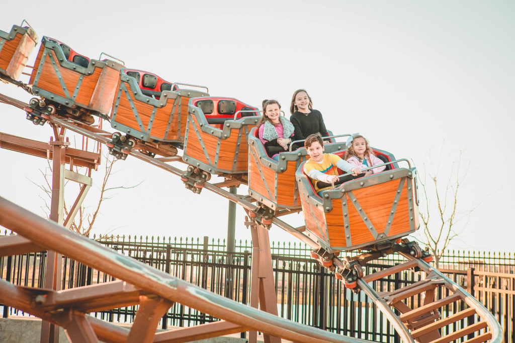 Riders on the Southern Express rollercoaster