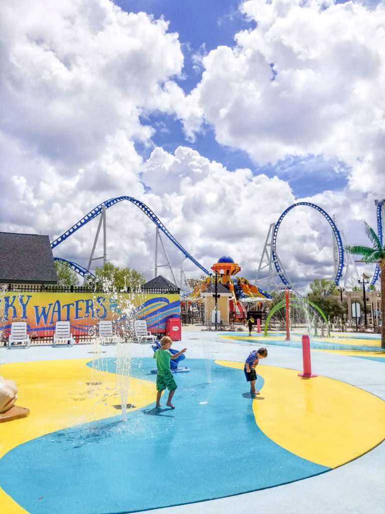 Children playing in the Wacky Waters splash pad